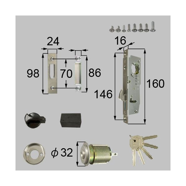 リクシル 部品 勝手口引戸用ロックセット D1Y60 LIXIL トステム メンテナンス DIY リフォーム