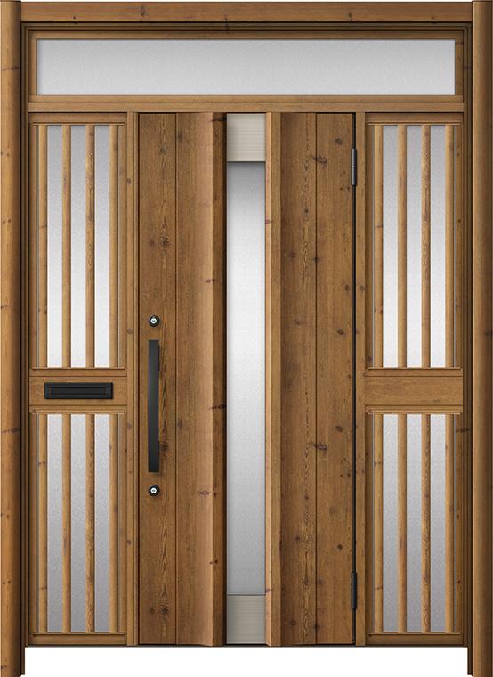 玄関ドア リシェント3 アルミ仕様 ランマ付 C11N型 両袖飾り中桟付ポスト付ドア W:1,400~1,895mm × H:2,301~2,600mm LIXIL リクシル TOSTEM トステム