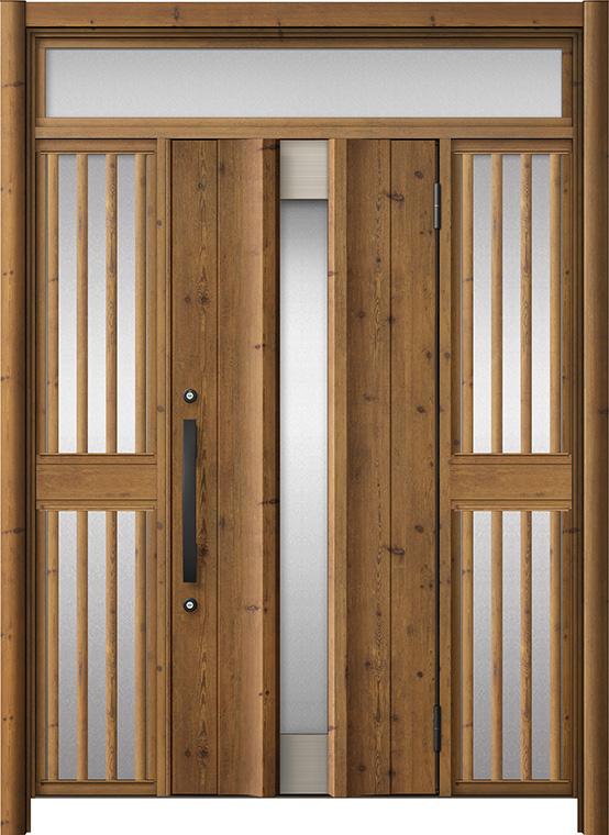 玄関ドア リシェント3 アルミ仕様 ランマ付 C11N型 両袖飾り中桟付ポスト無ドア W:1,150~1,895mm × H:2,301~2,600mm LIXIL リクシル TOSTEM トステム
