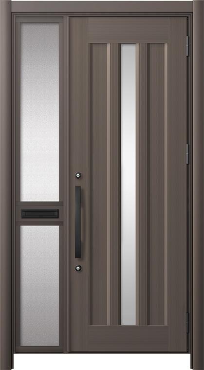 玄関ドア リシェント3 アルミ仕様 C12N型 片袖中桟付ポスト付 W:1,051~1,446mm × H:2,039~2,438mm リクシル トステム