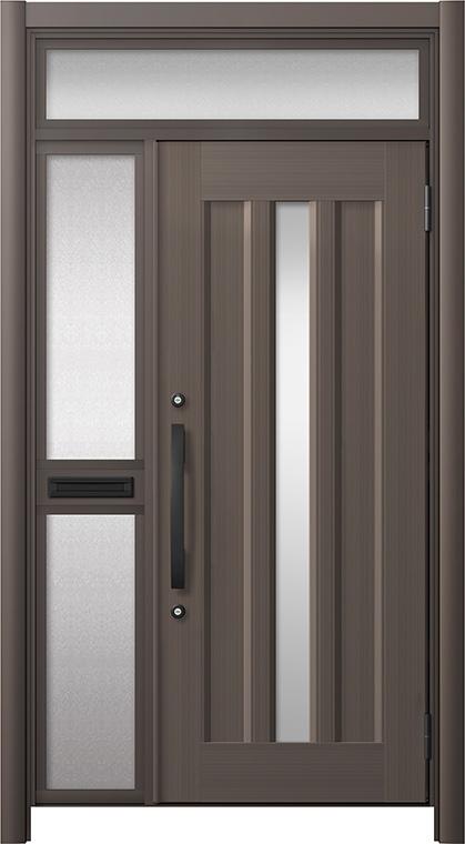 玄関ドア リシェント3 アルミ仕様 ランマ付 C12N型 片袖中桟付ポスト付 W:1,051~1,446mm × H:1,973~2,300mm リクシル トステム