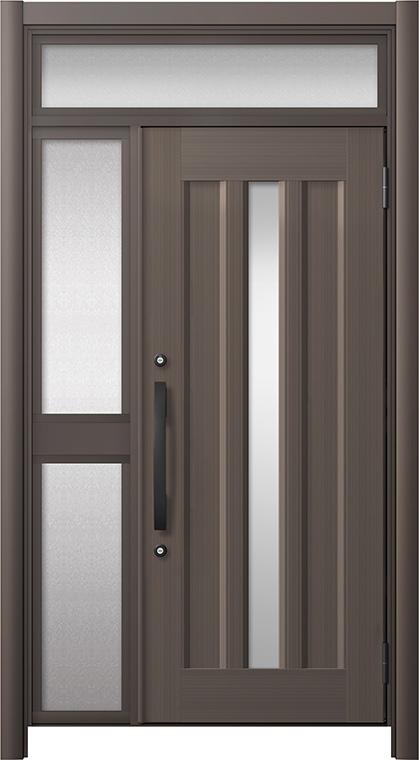 玄関ドア リシェント3 アルミ仕様 ランマ付 C12N型 片袖中桟付ポスト無 W:1,051~1,446mm × H:1,973~2,300mm リクシル トステム