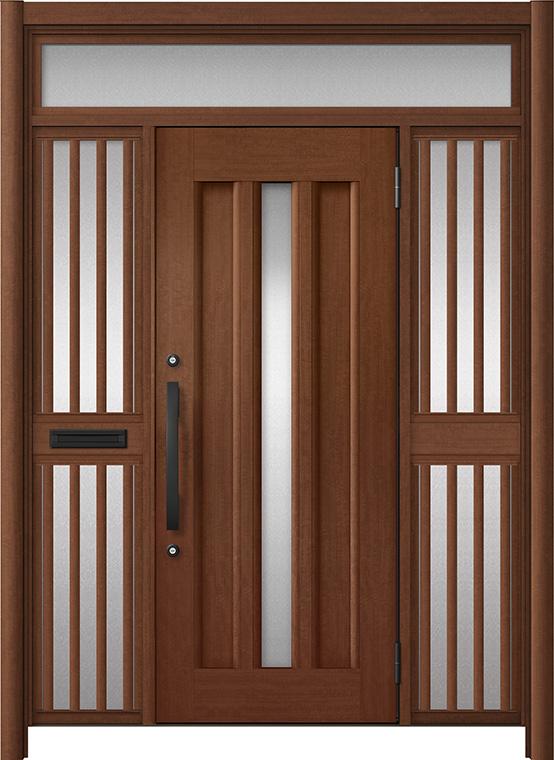 玄関ドア リシェント3 アルミ仕様 ランマ付 C12N型 両袖飾り中桟付ポスト付ドア W:1,400~1,895mm × H:1,973~2,300mm LIXIL リクシル TOSTEM トステム
