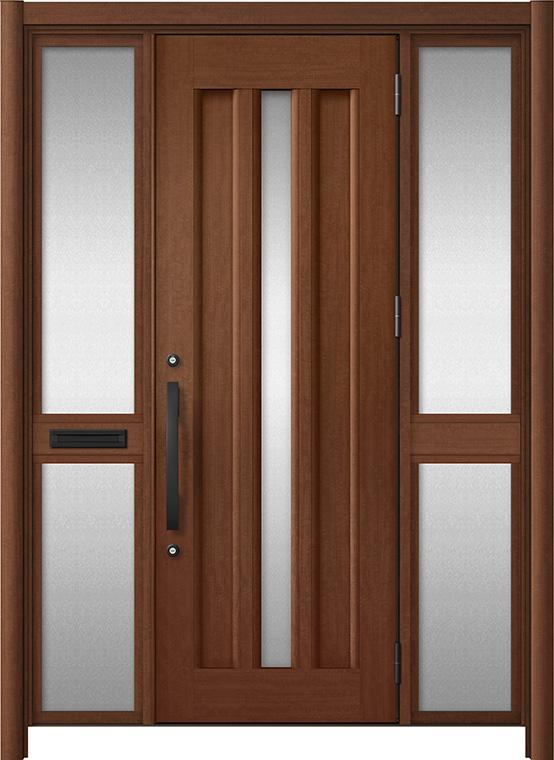 玄関ドア リシェント3 アルミ仕様 C12N型 両袖中桟付ポスト付ドア W:1,400~1,895mm × H:2,039~2,438mm LIXIL リクシル TOSTEM トステム