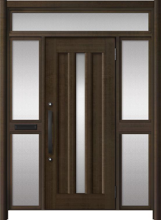 玄関ドア リシェント3 アルミ仕様 ランマ付 C12N型 両袖中桟付ポスト付ドア W:1,400~1,895mm × H:1,973~2,300mm LIXIL リクシル TOSTEM トステム