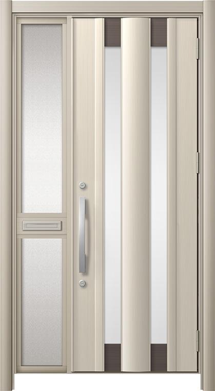 玄関ドア リシェント3 アルミ仕様 C14N型 片袖中桟付ポスト付 W:1,060~1,446mm × H:1,738~2,038mm リクシル トステム