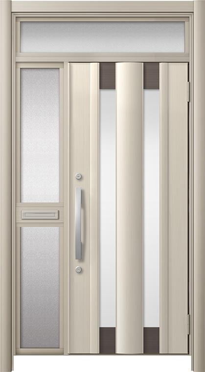 玄関ドア リシェント3 アルミ仕様 ランマ付 C14N型 片袖中桟付ポスト付 W:1,060~1,446mm × H:1,973~2,300mm リクシル トステム