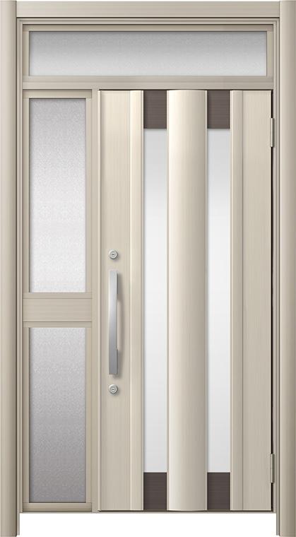 玄関ドア リシェント3 アルミ仕様 ランマ付 C14N型 片袖中桟付ポスト無 W:1,060~1,446mm × H:1,973~2,300mm リクシル トステム