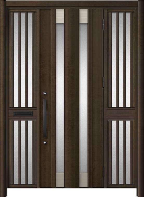 玄関ドア リシェント3 アルミ仕様 C14N型 両袖飾り中桟付ポスト付ドア W:1,400~1,895mm × H:2,039~2,438mm LIXIL リクシル TOSTEM トステム
