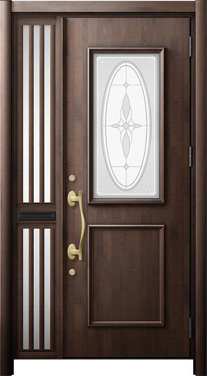 玄関ドア リシェント3 断熱仕様 K2 C15型 片袖飾り中桟付ポスト付ドア W:1,176~1,336mm × H:1,943~2,039mm リクシル トステム