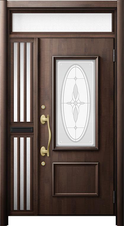 玄関ドア リシェント3 断熱仕様 ランマ付 K4 C15型 片袖飾り中桟付ポスト付ドア W:1,176~1,336mm × H:2,178~2,300mm リクシル トステム