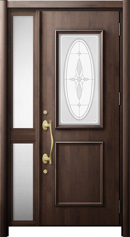 玄関ドア リシェント3 断熱仕様 K4 C15型 片袖中桟付ポスト無ドア W:1,176~1,336mm × H:1,943~2,039mm リクシル トステム