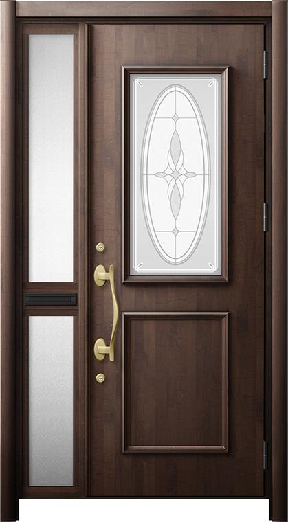 玄関ドア リシェント3 断熱仕様 K2 C15型 片袖中桟付ポスト付ドア W:1,176~1,336mm × H:2,040~2,356mm リクシル トステム