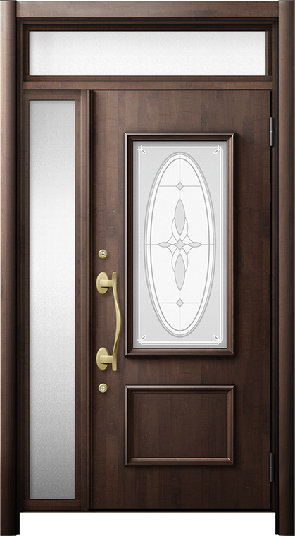玄関ドア リシェント3 断熱仕様 ランマ付 K4 C15型 片袖ドア W:1,035~1,100mm × H:2,178~2,300mm LIXIL リクシル TOSTEM トステム