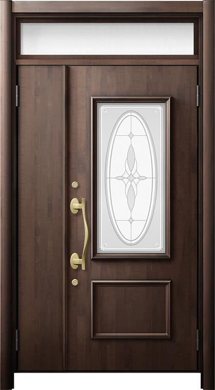 玄関ドア リシェント3 断熱仕様 ランマ付 K4 C15型 親子ドア W:1,201~1,394mm × H:2,301~2,600mm LIXIL リクシル TOSTEM トステム
