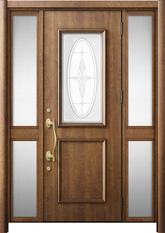 玄関ドア リシェント3 断熱仕様 K2 C15型 両袖中桟付ポスト無 W:1,193~1,695mm × H:1,943~2,039mm リクシル トステム