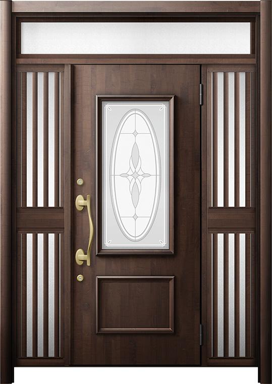玄関ドア リシェント3 断熱仕様 K4 C15型 両袖ランマ付飾り中桟付ポスト無 W:1,193~1,695mm × H:2,301~2,600mm リクシル トステム