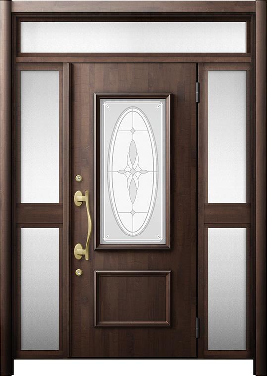 玄関ドア リシェント3 断熱仕様 K2 C15型 両袖ランマ付中桟付ポスト無 W:1,193~1,695mm × H:2,178~2,300mm リクシル トステム