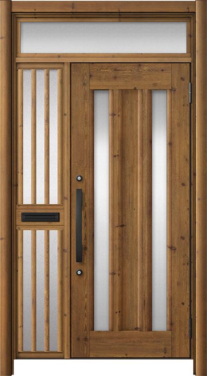 玄関ドア リシェント3 アルミ仕様 ランマ付 C16N型 片袖飾り中桟付ポスト付 W:1,020~1,446mm × H:1,973~2,300mm リクシル トステム
