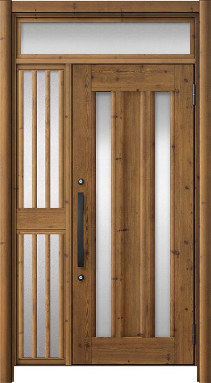 玄関ドア リシェント3 アルミ仕様 ランマ付 C16N型 片袖飾り中桟付ポスト無 W:1,020~1,446mm × H:2,301~2,600mm リクシル トステム