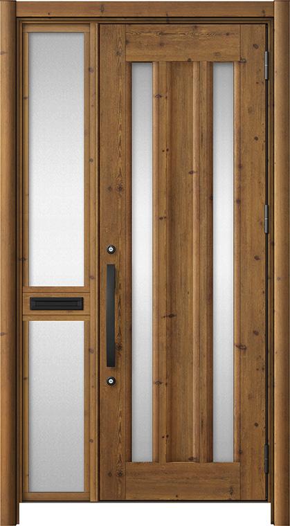 玄関ドア リシェント3 アルミ仕様 C16N型 片袖中桟付ポスト付 W:1,020~1,446mm × H:2,039~2,438mm リクシル トステム