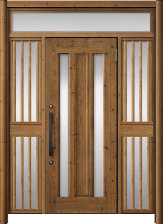 玄関ドア リシェント3 アルミ仕様 ランマ付 C16N型 両袖飾り中桟付ポスト無ドア W:1,150~1,895mm × H:2,301~2,600mm LIXIL リクシル TOSTEM トステム