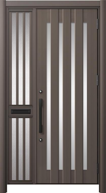 玄関ドア リシェント3 アルミ仕様 C17N型 片袖飾り中桟付ポスト付 W:1,013~1,446mm × H:2,039~2,438mm リクシル トステム