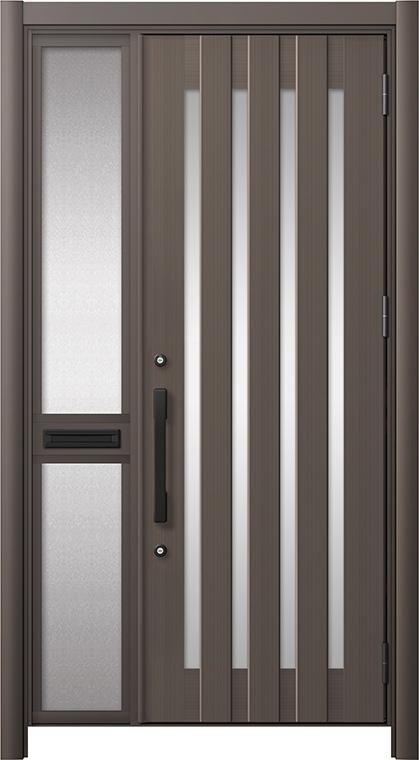 玄関ドア リシェント3 アルミ仕様 C17N型 片袖中桟付ポスト付 W:1,013~1,446mm × H:2,039~2,438mm リクシル トステム