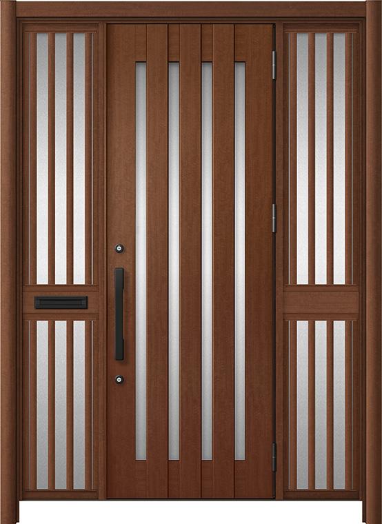 玄関ドア リシェント3 アルミ仕様 C17N型 両袖飾り中桟付ポスト付ドア W:1,400~1,895mm × H:1,738~2,038mm LIXIL リクシル TOSTEM トステム