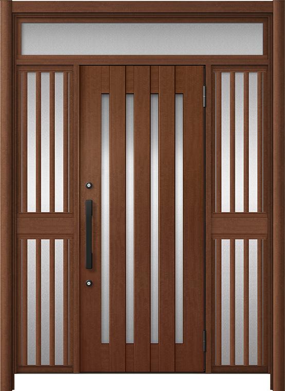 玄関ドア リシェント3 アルミ仕様 ランマ付 C17N型 両袖飾り中桟付ポスト無ドア W:1,150~1,895mm × H:2,301~2,600mm LIXIL リクシル TOSTEM トステム