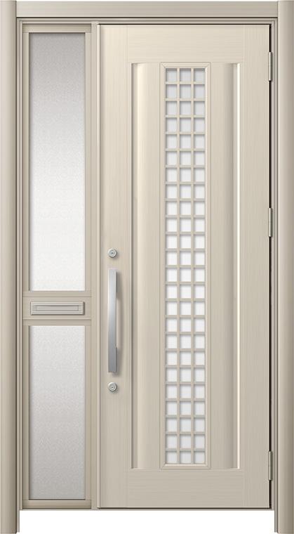 玄関ドア リシェント3 アルミ仕様 C20N型(ガラス別途) 片袖中桟付ポスト付 W:1,037~1,446mm × H:1,738~2,038mm リクシル トステム