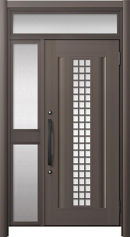 玄関ドア リシェント3 アルミ仕様 ランマ付 C20N型(ガラス別途) 片袖中桟付ポスト無 W:1,037~1,446mm × H:1,973~2,300mm リクシル トステム