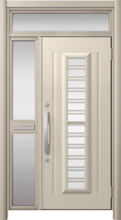 玄関ドア リシェント3 アルミ仕様 ランマ付 C83N型(ガラス別途)採風タイプ 片袖中桟付ポスト付 W:1,048~1,446mm × H:2,301~2,600mm リクシル トステム