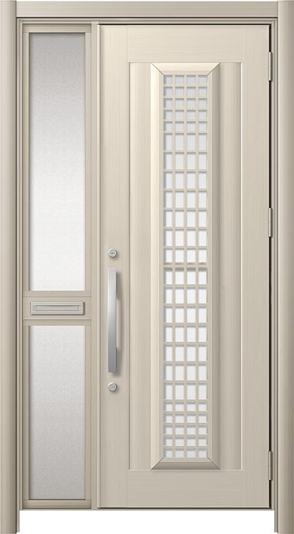 玄関ドア リシェント3 アルミ仕様 C84N型(ガラス別途)採風タイプ 片袖中桟付ポスト付 W:1,048~1,446mm × H:2,039~2,356mm リクシル トステム