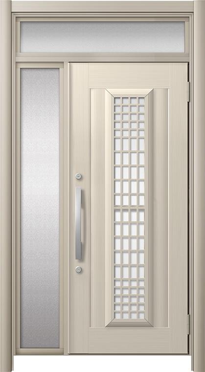 玄関ドア リシェント3 アルミ仕様 ランマ付 C84N型(ガラス別途)採風タイプ 片袖ドア W:907~1,446mm × H:1,973~2,300mm LIXIL リクシル TOSTEM トステム