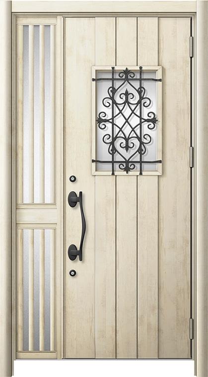 玄関ドア リシェント3 断熱仕様 K2 D41型 片袖飾り中桟付ポスト無ドア W:1,176~1,336mm × H:1,739~2,039mm リクシル トステム