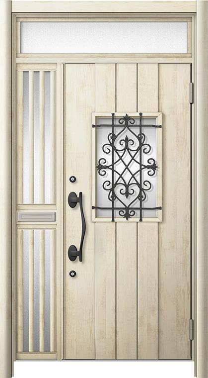 玄関ドア リシェント3 断熱仕様 ランマ付 K4 D41型 片袖飾り中桟付ポスト付ドア W:1,176~1,336mm × H:2,301~2,600mm リクシル トステム