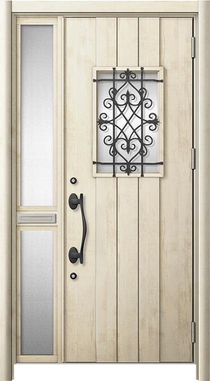 玄関ドア リシェント3 断熱仕様 K2 D41型 片袖中桟付ポスト付ドア W:1,176~1,336mm × H:2,040~2,439mm リクシル トステム