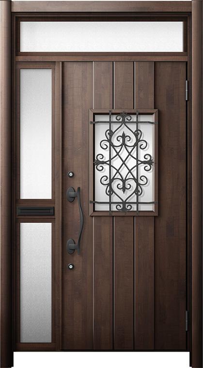 玄関ドア リシェント3 断熱仕様 ランマ付 K4 D41型 片袖中桟付ポスト付ドア W:1,176~1,336mm × H:1,974~2,300mm リクシル トステム