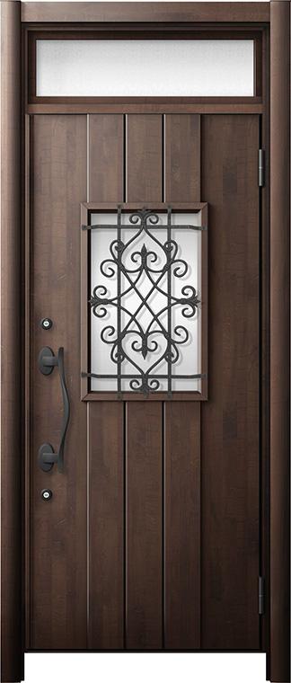 玄関ドア リシェント3 断熱仕様 ランマ付 K2 D41型 片開きドア W:901~977mm × H:2,301~2,600mm LIXIL リクシル TOSTEM トステム