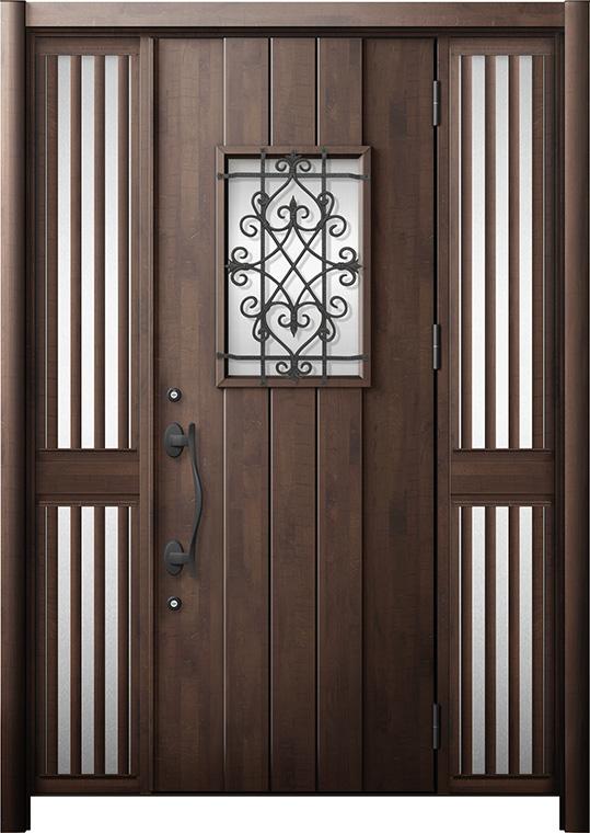 玄関ドア リシェント3 断熱仕様 K2 D41型 両袖飾り中桟付ポスト無 W:1,193~1,695mm × H:2,040~2,439mm リクシル トステム
