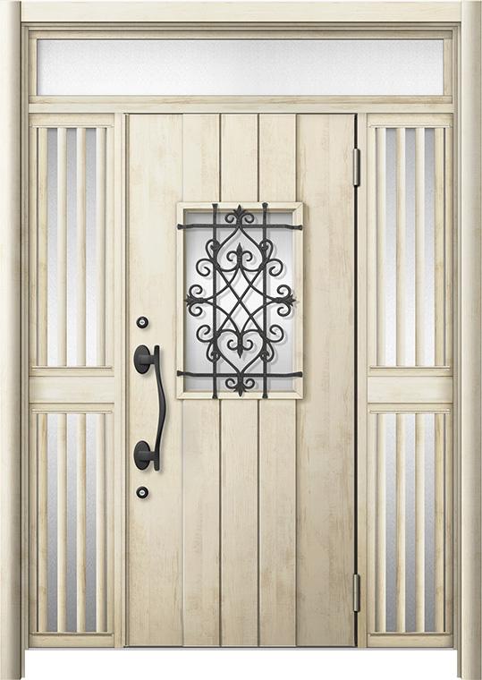 玄関ドア リシェント3 断熱仕様 K2 D41型 両袖ランマ付飾り中桟付ポスト無 W:1,193~1,695mm × H:2,301~2,600mm リクシル トステム