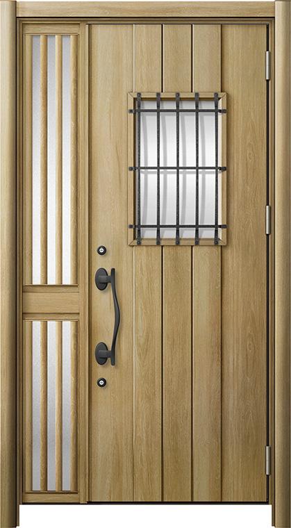 玄関ドア リシェント3 断熱仕様 K2 D44型 片袖飾り中桟付ポスト無ドア W:1,176~1,336mm × H:1,739~2,039mm リクシル トステム