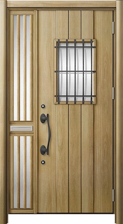 玄関ドア リシェント3 断熱仕様 K2 D44型 片袖飾り中桟付ポスト付ドア W:1,176~1,336mm × H:2,040~2,439mm リクシル トステム