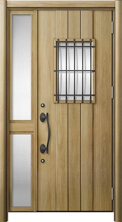 玄関ドア リシェント3 断熱仕様 K2 D44型 片袖中桟付ポスト無ドア W:1,176~1,336mm × H:2,040~2,439mm リクシル トステム