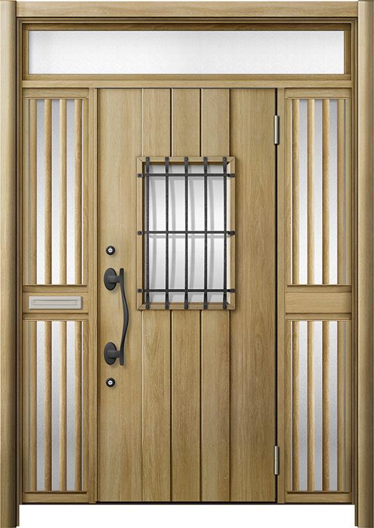 玄関ドア リシェント3 断熱仕様 K2 D44型 両袖ランマ付飾り中桟付ポスト付 W:1,530~1,695mm × H:2,301~2,600mm リクシル トステム