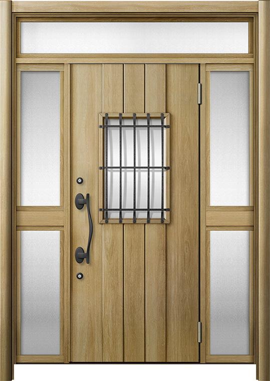 玄関ドア リシェント3 断熱仕様 K4 D44型 両袖ランマ付中桟付ポスト無 W:1,193~1,695mm × H:1,974~2,300mm リクシル トステム
