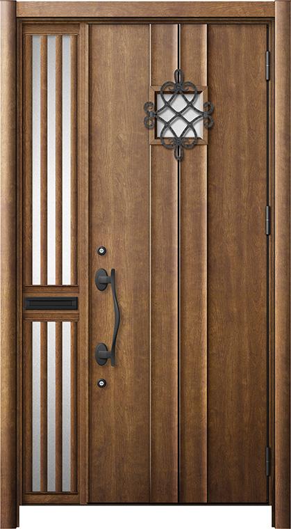 玄関ドア リシェント3 断熱仕様 K2 D77型 片袖飾り中桟付ポスト付ドア W:1,013~1,336mm × H:2,040~2,439mm リクシル トステム
