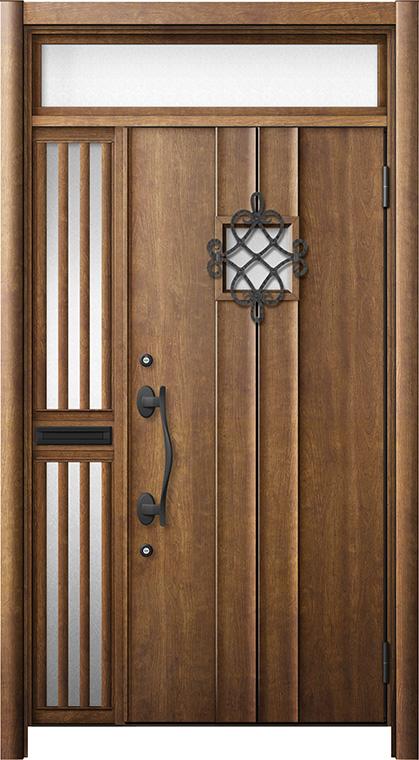 玄関ドア リシェント3 断熱仕様 ランマ付 K4 D77型 片袖飾り中桟付ポスト付ドア W:1,013~1,336mm × H:2,301~2,600mm リクシル トステム