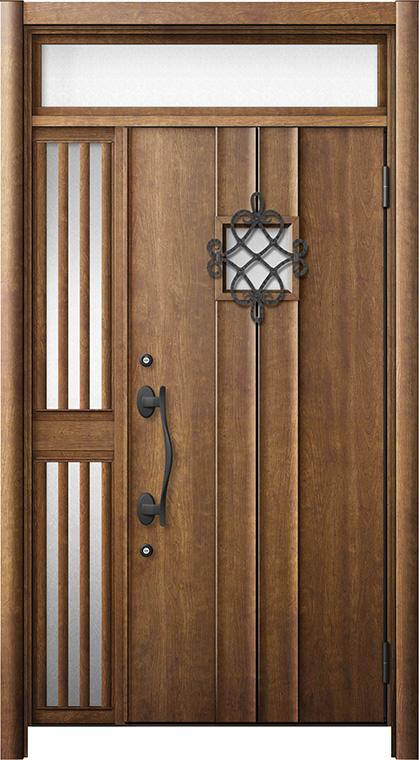 玄関ドア リシェント3 断熱仕様 ランマ付 K4 D77型 片袖飾り中桟付ポスト無ドア W:1,013~1,336mm × H:2,301~2,600mm リクシル トステム